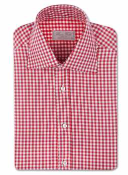 Shirt man slim fit large plaid high collar two buttons