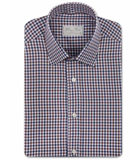 Shirt man slim fit gingham two-tone