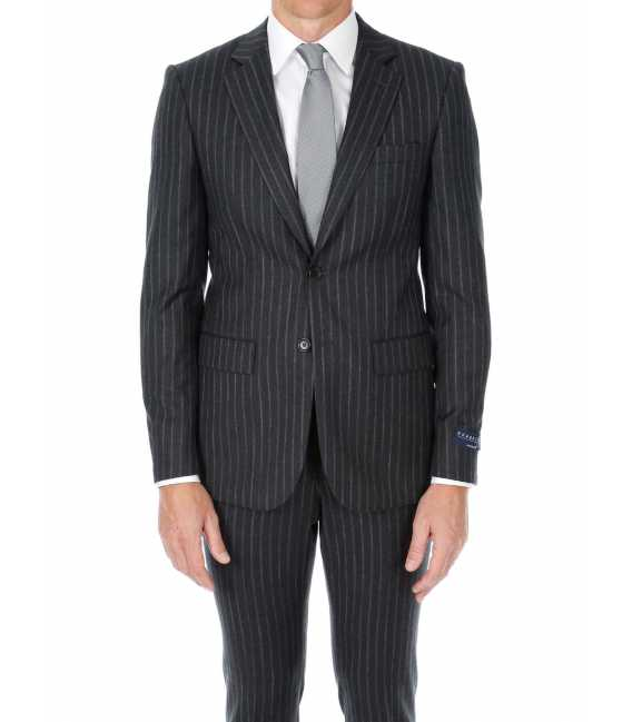 Suit fitted wool Guabello with wide stripes chalks