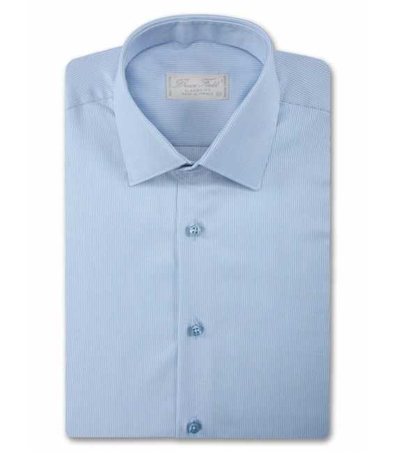 Chemise homme coupe droite aux fines rayures blanches
