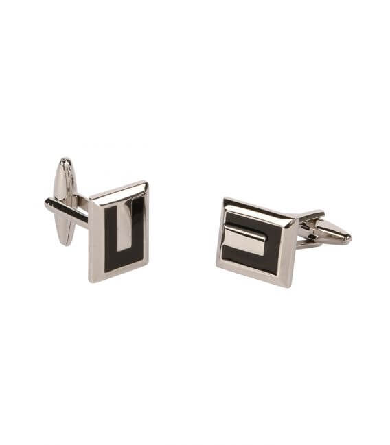 Cufflinks rectangle metal and black