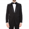 Black tuxedo shawl collar satin-finish pure wool Lanificio F. lli Cerruti