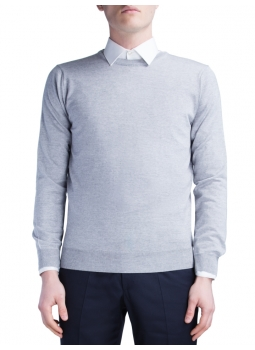 Pullover crew neck in pure merino wool