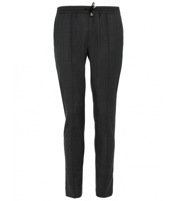 Trousers in pure wool 110's with drawstring (jogger)