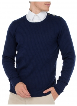 Sweater round neck with placket buttoned 100% merino Wool