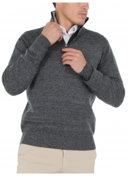e5616c634702 Mens sweater zip-neck contrasting wool and cashmere - Gris anthracite  Gris  Clair