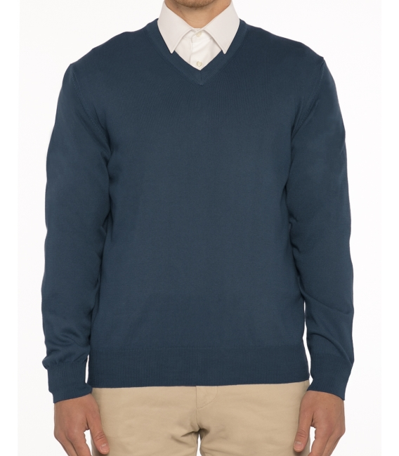 Mens sweater V neck 100% cotton