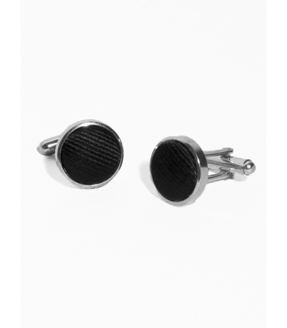Cufflinks, metal and silk ribbed