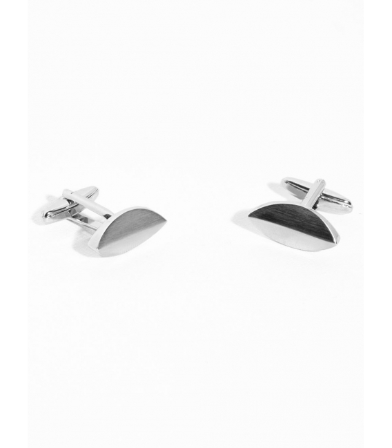 Cufflinks oval brushed metal