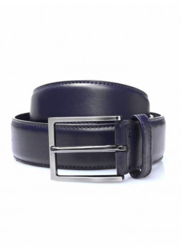 Belt man leather-smooth top-stitched tone-on-tone
