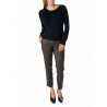 Sweater woman's round neck wool and cashmere