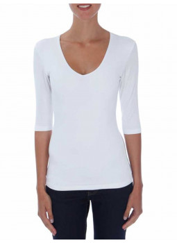 T-shirt col V manches 3/4 viscose stretch