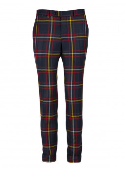 Pants in Tartan 100% Wool straight-cut