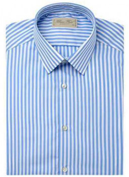 Chemise coupe droite pur coton larges rayures.