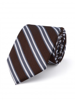 Tie in pure silk with stripes