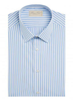 Shirt straight cut pure cotton striped