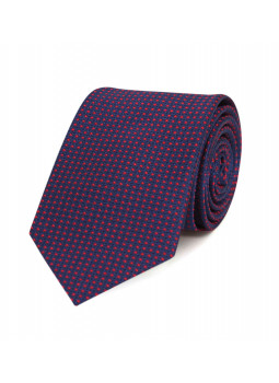 Tie in pure silk navy with red polka dots